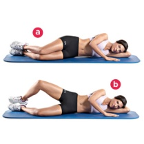 1. Lie on your left side on the floor, with your hips and knees bent 45 degree angle. Your right leg should be on top of your left leg, your heels together. 2. Keeping your feet together, inhale as you raise your right knee as high as you can without moving your pelvis. 3. Exhale and return to the starting position. Be sure not to allow your left leg to move off the floor. 4. Repeat 30 times, 15 times on each side. Inhale with each leg raise, exhale when you lower.