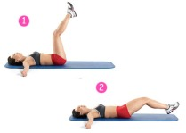 1. Lie on your back with your arms out forming a T with your body on the mat. 2. Inhale through your noise while you lift your legs off the floor about 20 degrees. Keep a slight bend in your knees 3. Exhale and lower your legs back down to the mat. Keep your back pressed firmly into the mat to prevent you from hyperextending your back. 4. Repeat 15 times.